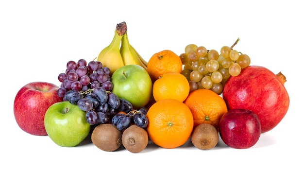 Assortment or tropical fruits isolated on white. healthy food.