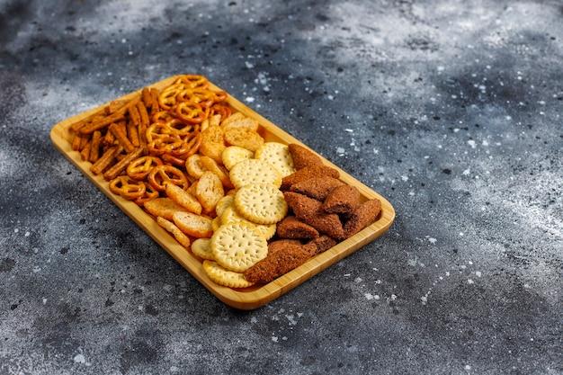 Assortment of unhealthy snacks.