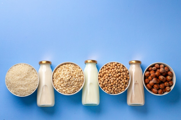 Assortment of vegetarian lactose free milk made of nuts and grains