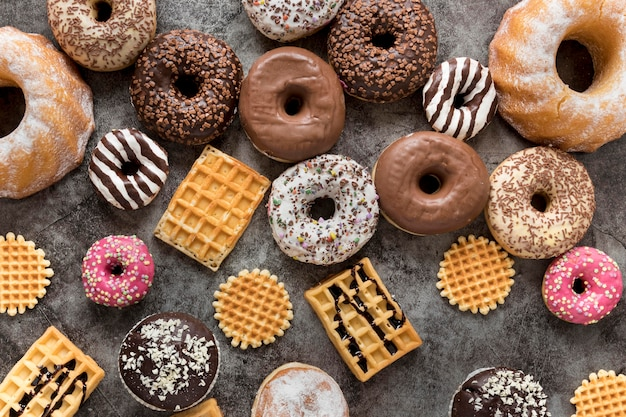Assortment of waffles and doughnuts