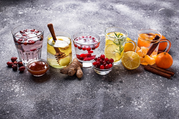 Assortment of winter healthy tea for immunity boosting