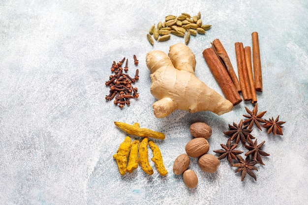 Assortment of winter spices.