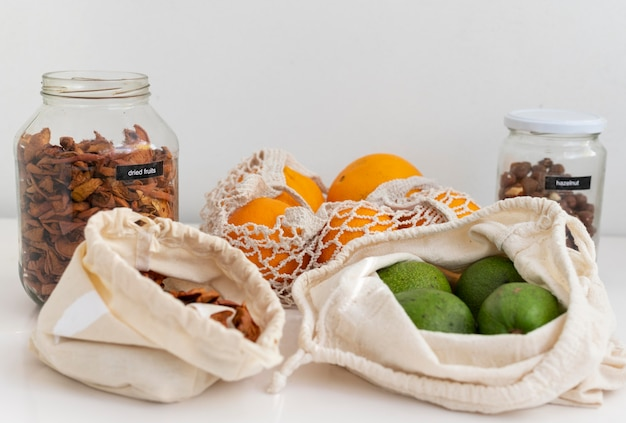 Assortment with bags and jars