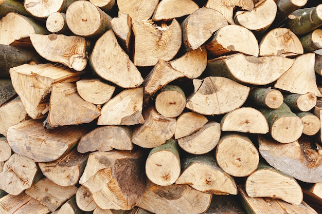 Assortment with cut wood for heating