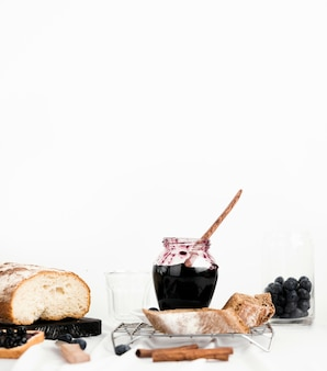 Assortment with delicious jam and bread