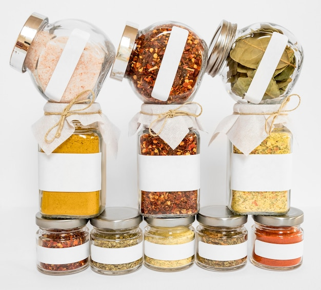 Assortment with different labelled jars