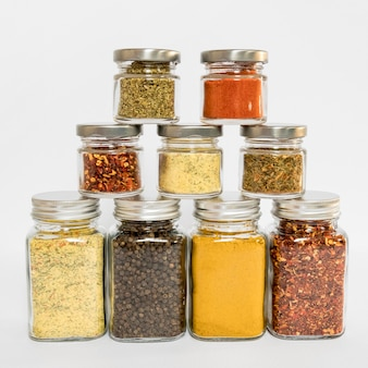 Assortment with different spices in jars