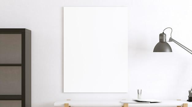 Assortimento con tela vuota e lampada