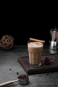 Assortment with frappe and dark background