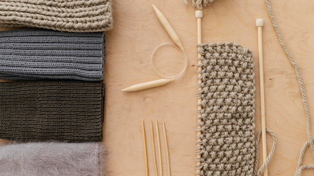 Assortment with knitting tools top view