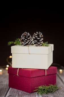 Assortment with present boxes and dark background