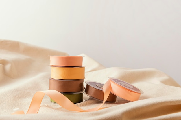 Assortment with ribbons and fabric