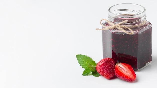 Assortment with tasty jam in jar