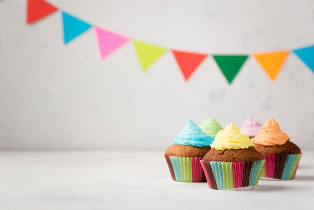 Assortment with tasty muffins for party
