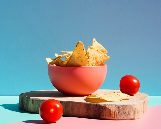 Assortment with tortilla chips and cherry tomatoes