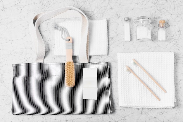 Assortment of zero waste products on marble background
