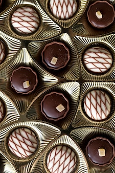 Assortments of chocolate candy in box