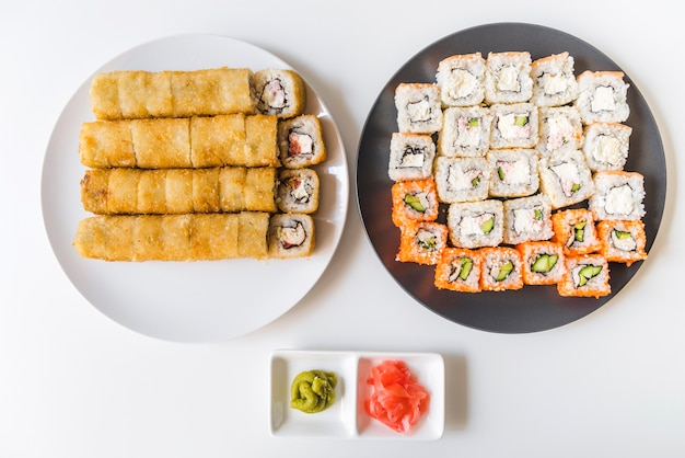 Assortments of sushi from a high angle view