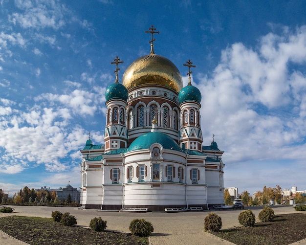Assumption cathedral and blue sky with clouds