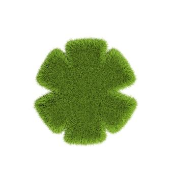 白い背景で隔離の緑の葉で作られたアスタリスク-シンボルの3dイラスト。