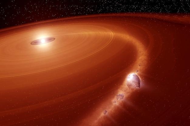 Пояс астероидов вокруг неизвестной планеты. элементы этого изображения предоставлены наса.