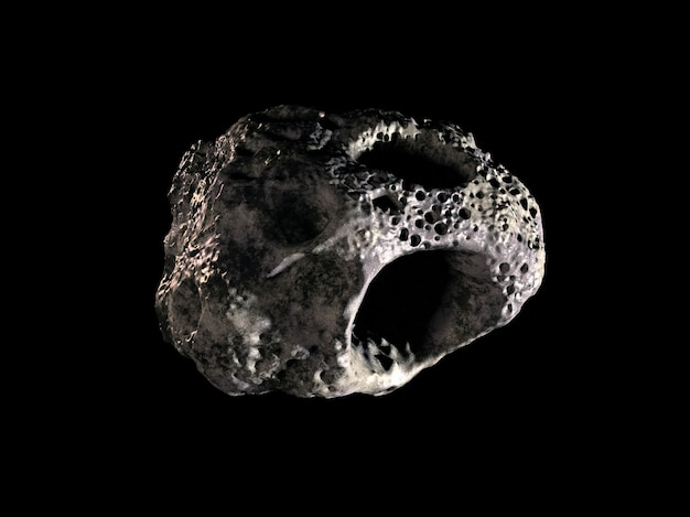 Asteroid on black