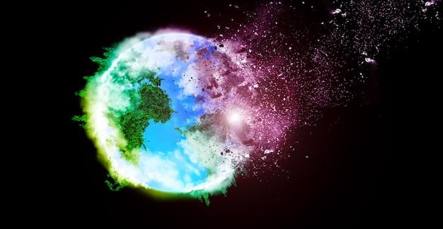 지구에 떨어지는 소행성. 행성에 대한 우주 위험. 아름다운 예술 개념입니다.