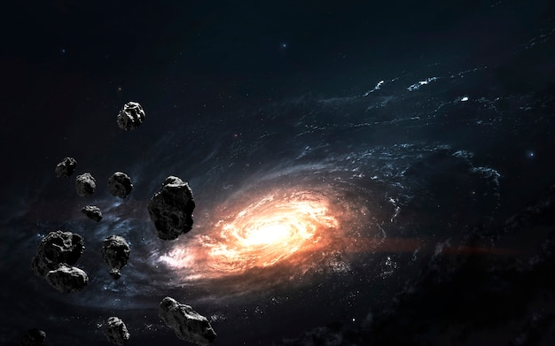 Asteroid field against galaxy, awesome science fiction wallpaper, cosmic landscape.