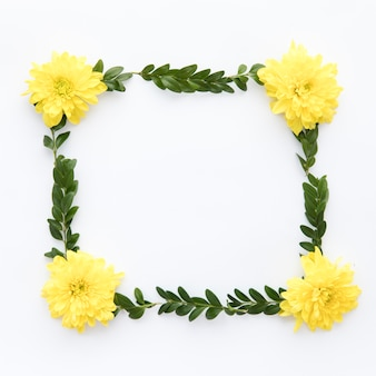 黄色のastersと葉のフレーム