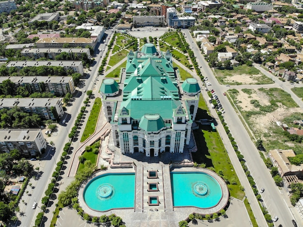 Astrakhan, russia. aerial view of the opera and ballet theater.