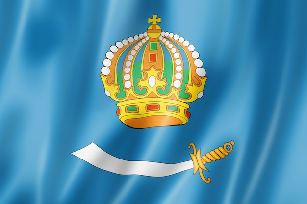 Astrakhan state - oblast -  flag, russia waving banner collection. 3d illustration