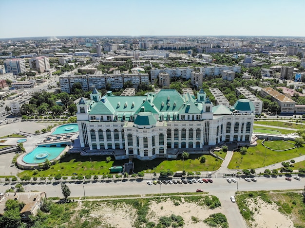 Astrakhan state opera and ballet theater. view from above. russia.