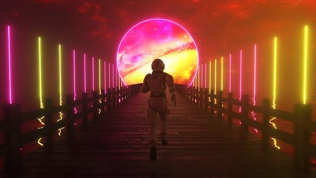 アストラノートは無限の木製の橋に沿って走ります