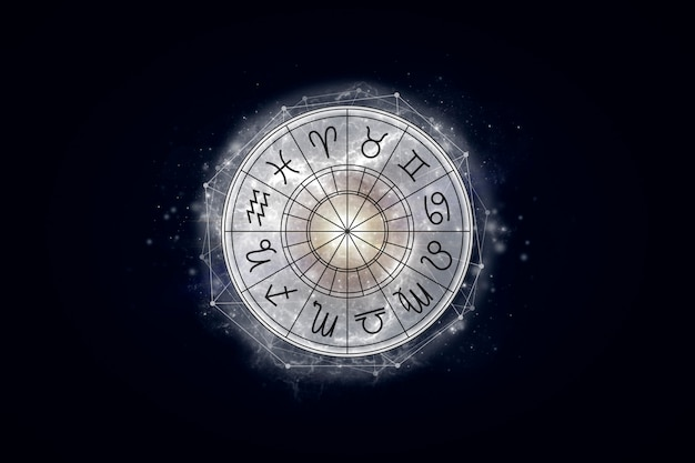 Astrological circle with the signs of the zodiac on a background of the starry sky