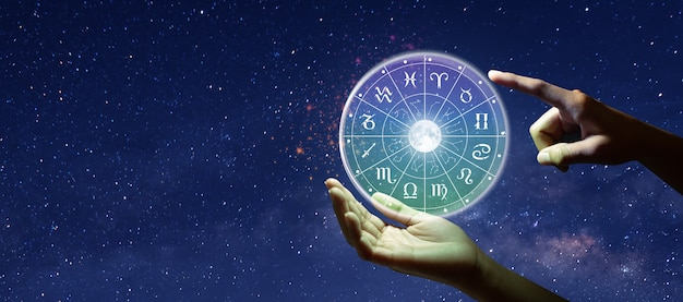 Знаки зодиака зодиака внутри круга гороскопа концепция силы вселенной