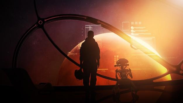 火星に接近する船の舷窓にいる宇宙飛行士とドロイド