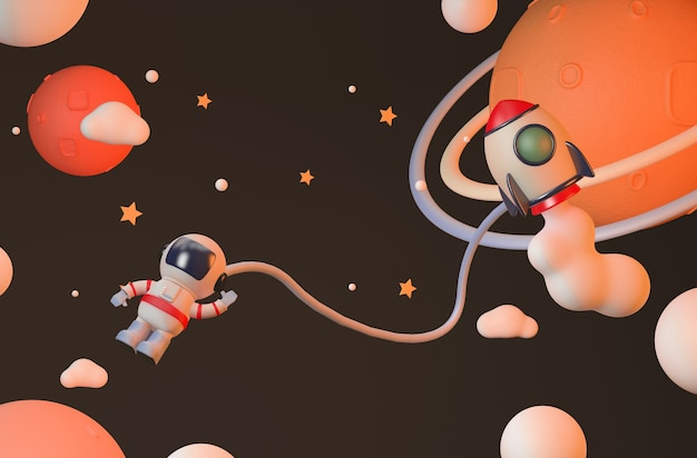 성층권에서 우주 비행사와 로켓 렌더링