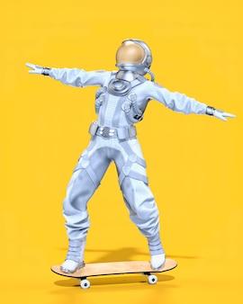 스케이트보드, 노란색 배경에 우주 비행사 균형. 3d 일러스트레이션