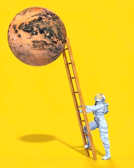 행성, 노란색 배경에 도달하기 위해 사다리를 등반하는 우주 비행사. 3d 일러스트레이션