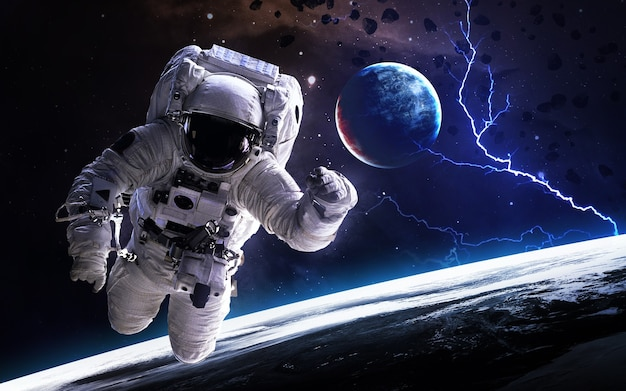 Astronaut in deep space