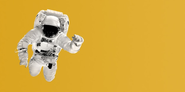 Astronaut flies on yellow