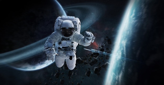 Astronaut floating in space 3d rendering elements