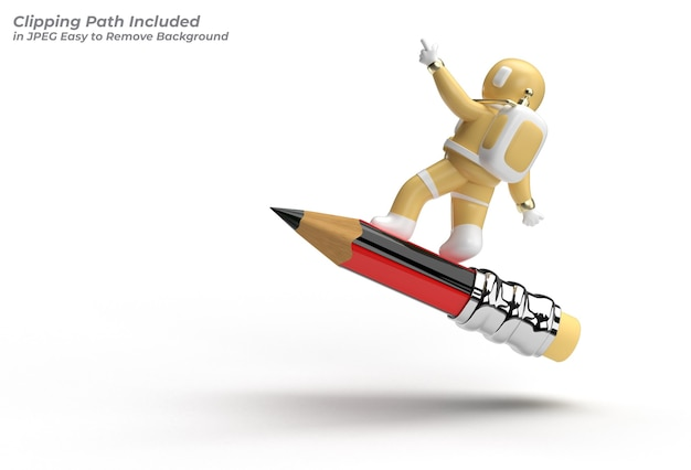 Astronaut flying with pencil pen tool created clipping path included in jpeg easy to composite.
