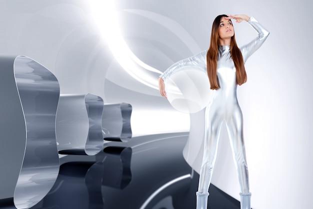 Astronaut futuristic silver woman glass helmet