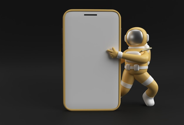 Astronaut hand pointing finger smartphone blank screen template. abstract trendy fashionable mockup. 3d rendering of blank phone mobile app.