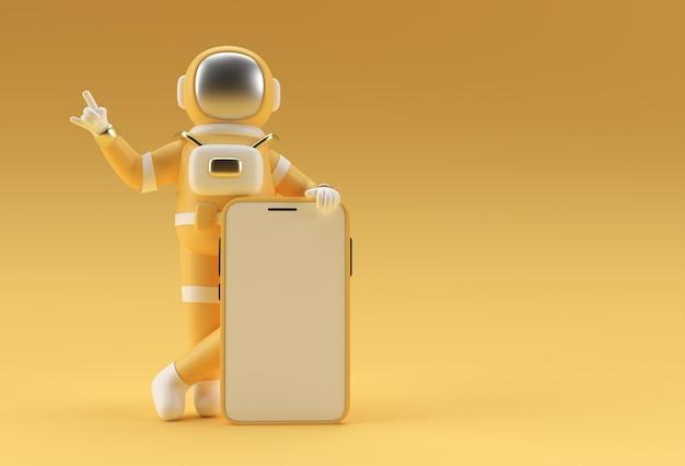 Рука астронавта указывая пальцем смартфон пустой экран шаблон. абстрактный модный модный макет. 3d-рендеринг мобильного приложения пустой телефон.