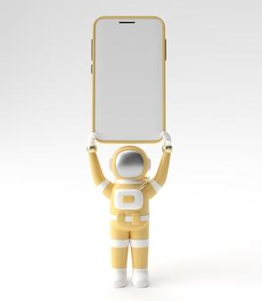Астронавт, держа шаблон пустой экран смартфона. абстрактный модный модный макет. 3d-рендеринг мобильного приложения пустой телефон.