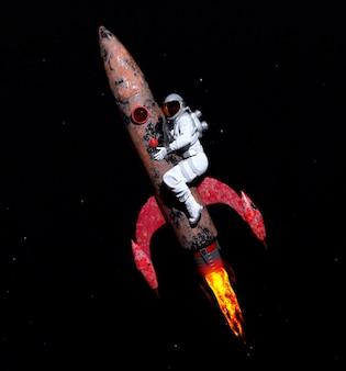 비행 미사일을 껴안는 우주 비행사