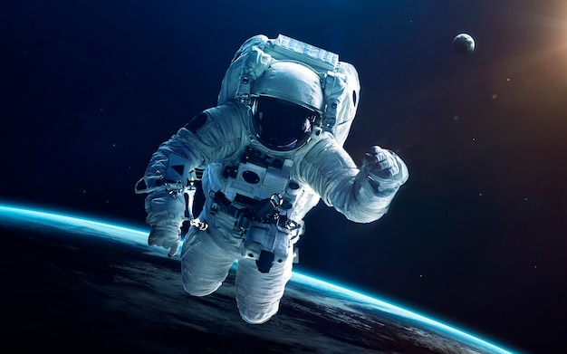 深宇宙の宇宙飛行士。