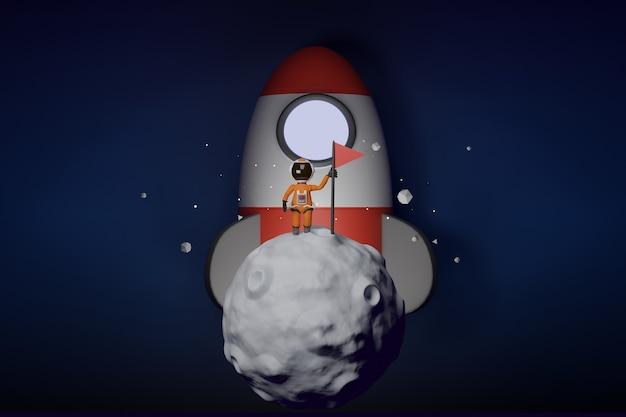 플래그 만화 우주 비행사 개념 3d 렌더링으로 달에 서 있는 우주복을 입은 우주 비행사
